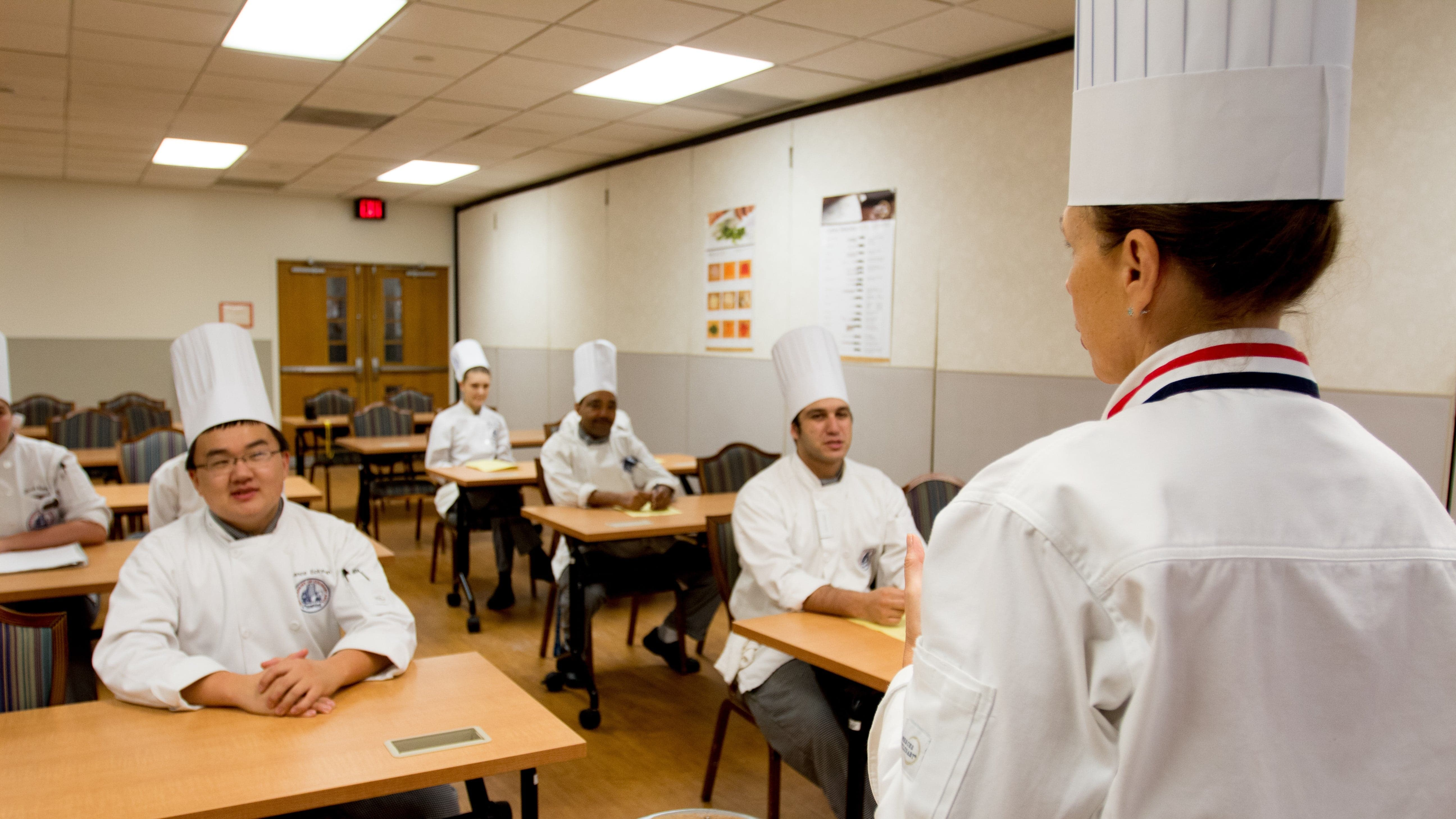 Chefs being taught in classroom