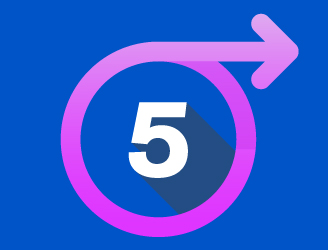 the number 5 in a circle with an arrow