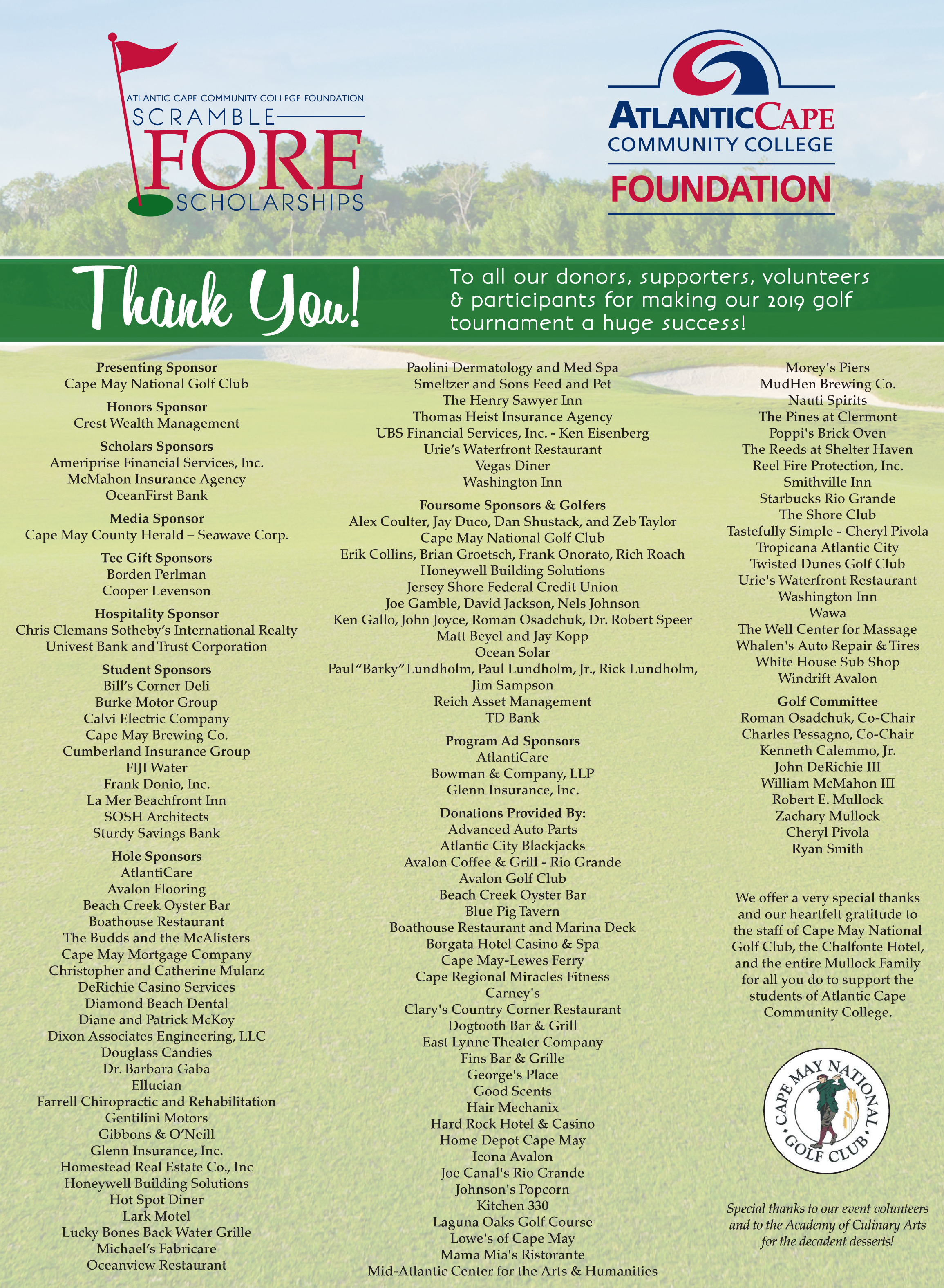 2019 Golf Tournament Thank You