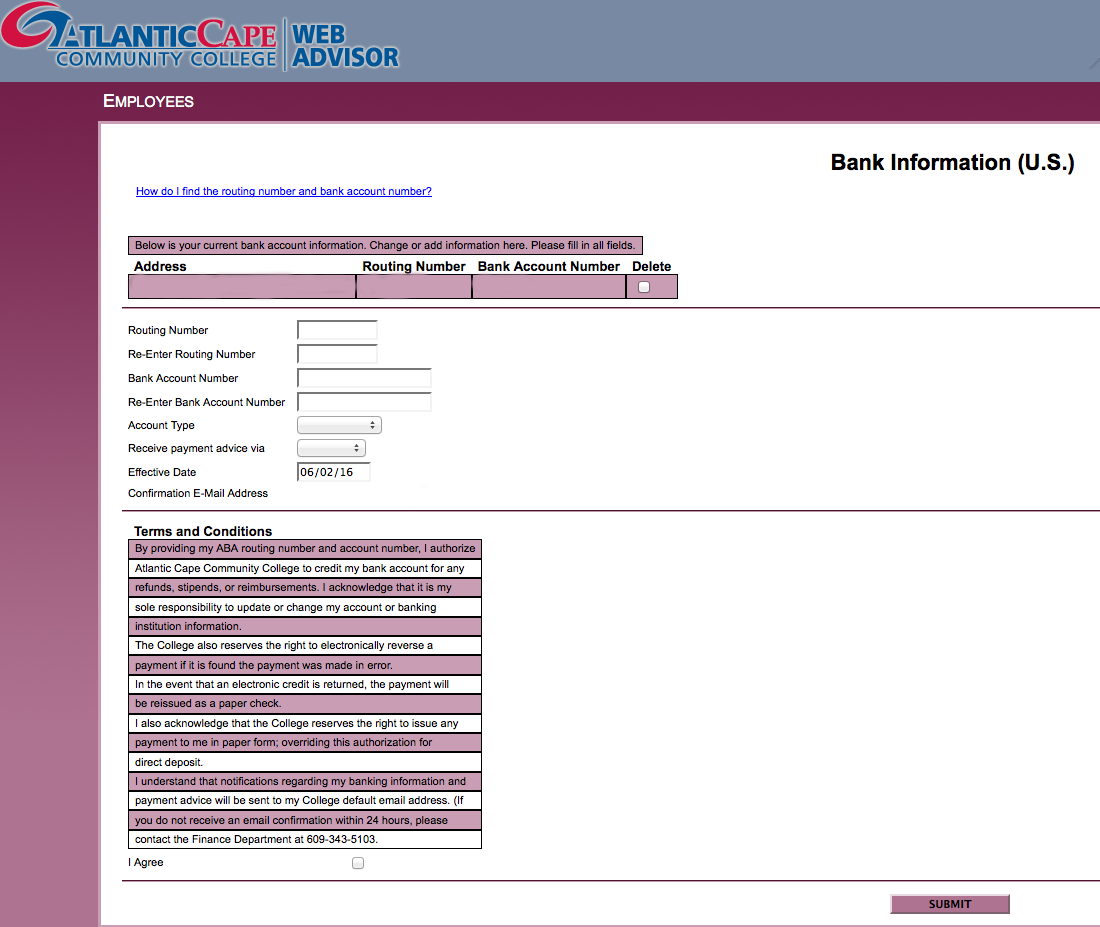 sample screenshot of webadvisor bank info screen