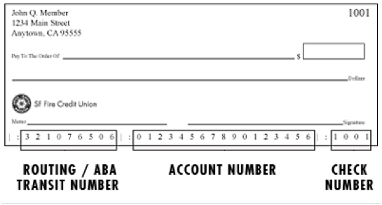 Check example including routing number location and bank account number location