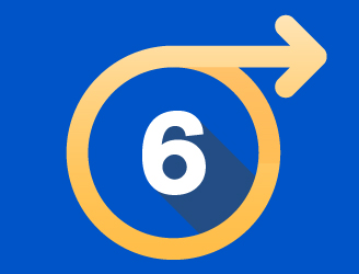 A number 6 in a circle with an arrow