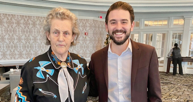 Michael Barnes attends an autism awareness talk with Dr. Temple Grandin